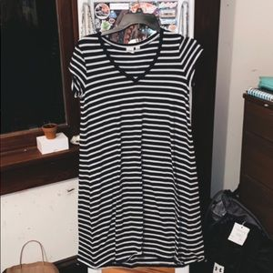 Navy & White Striped T-Shirt Dress
